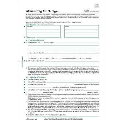 """Rnk Verlag Vordruck """"mietvertrag Für Garagen, Din A4"""