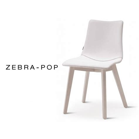 chaise coque pieds bois zebra pop assise plastique garnie