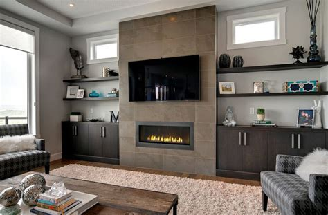 built ins  fireplace basement living rooms built