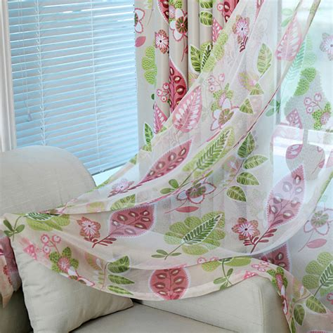 country colorful leaf and floral sheer curtains home