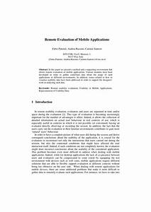 Pdf  Remote Evaluation Of Mobile Applications