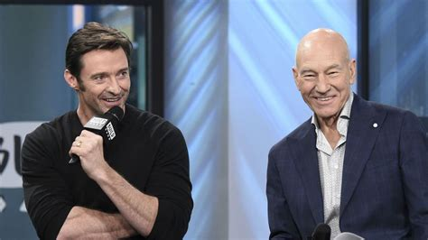 patrick stewart son hugh jackman and patrick stewart s father and son pic is