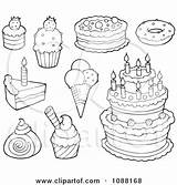 Desserts Ice Cream Cakes Illustration Clipart Coloring Pages Dessert Royalty Outlined Visekart Vector Cart Clip Background Mandala Illustrations Clipartof Template sketch template