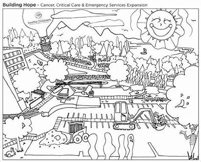 Coloring Construction Building Hospital Children Pages Seattle