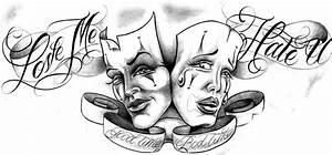 Love Me Hate U Good Times Bad Times Clown Masks Tattoo ...