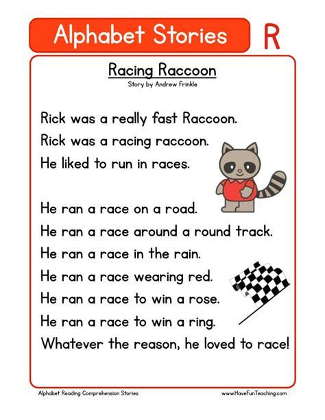 kindergarten reading comprehension worksheets 569 | alphabet stories comprehension r