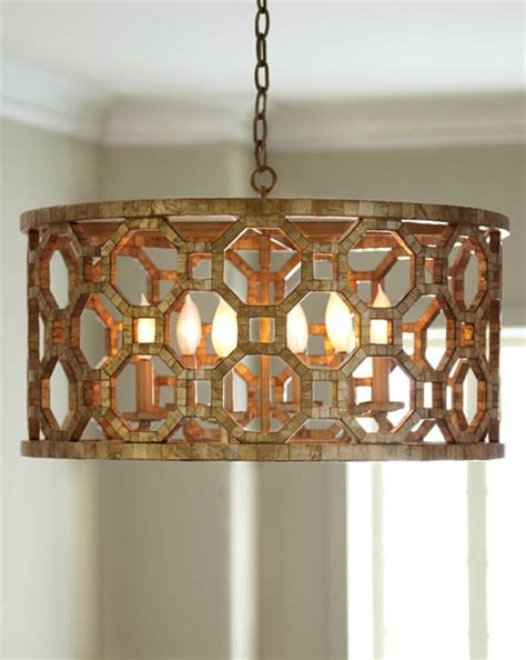 Capiz Drum Chandelier by Regatta Collection 6 Light 25 Quot Stained Silver Leaf Drum