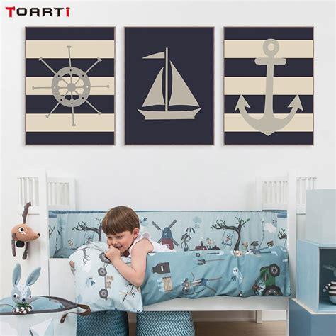 Decorate your bedroom, bathroom, nursery, hallway or beach house with this cute nautical anchor night light. European Retro Nautical Anchor Ship Wheel Nursery Decor Wall Art Canvas Poster And Print Picture ...