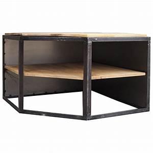 Meuble Angle Bois : meuble tv d 39 angle en bois et metal ice cube de guibox ~ Edinachiropracticcenter.com Idées de Décoration
