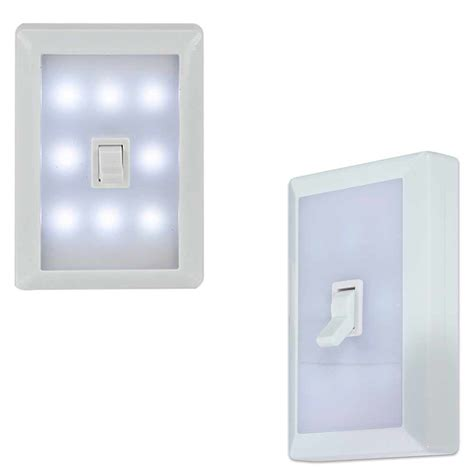 8 led peel stick switch cover wall light white tool