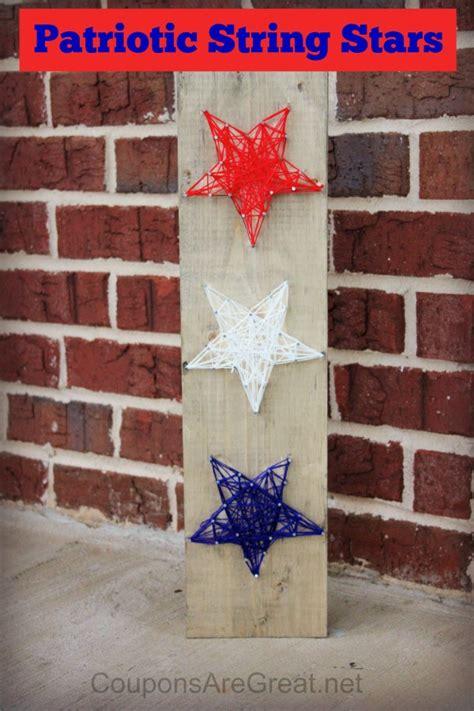 patriotic craft red white  blue string art stars