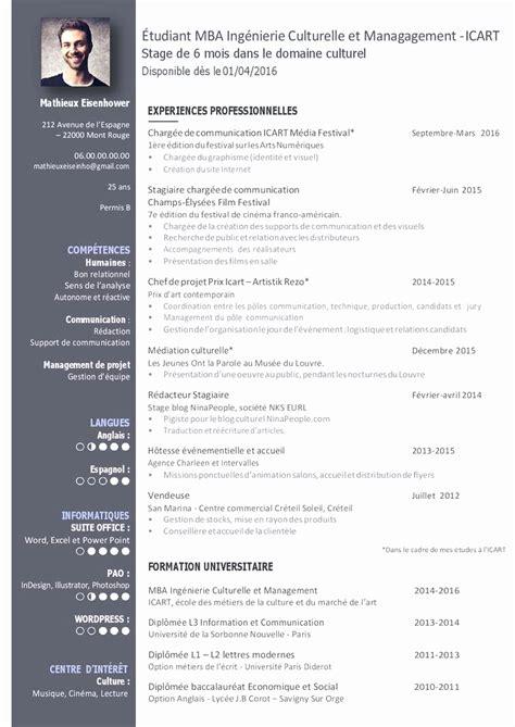 Exemple De Modele De Cv by Exemple De Cv Graphiste Modele De Cv Original Etudiant