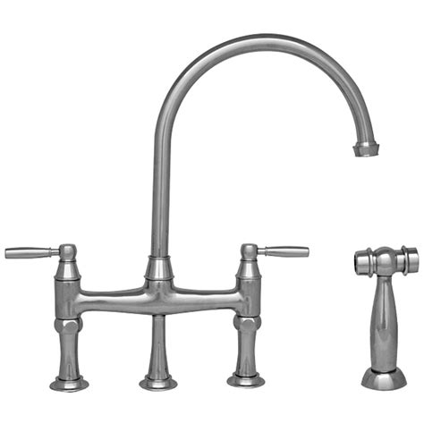 bridge kitchen faucet with side spray whitehaus collection queenhaus 2 handle bridge kitchen faucet with side sprayer in polished