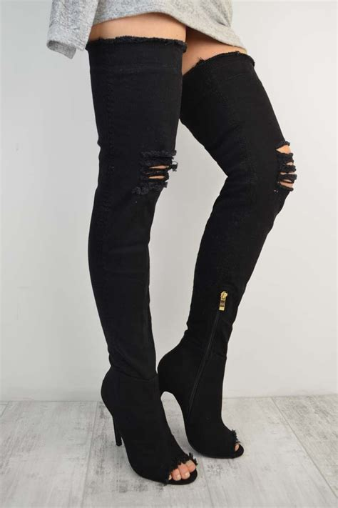 black denim thigh high rip detail stiletto high heel boots