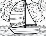 Coloring Sailboat Boat Sailing Summertime Adventure Pages Printable Getcolorings sketch template