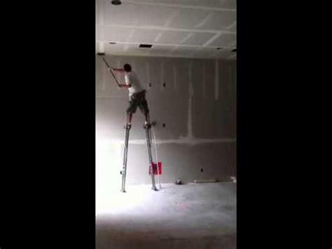 drywall finishing on stilts