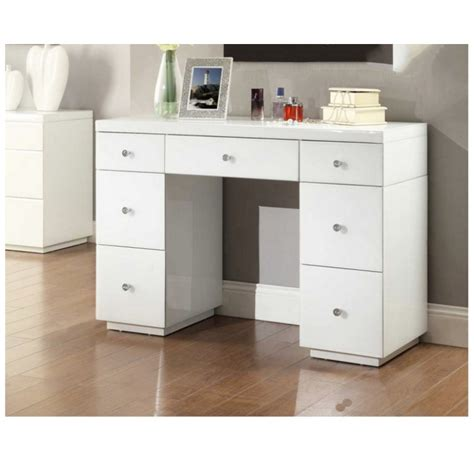 Vanity Table With Mirror And Drawers by White Glass Mirrored Dressing Table Mirror Furniture