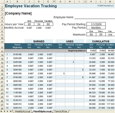 vacation accrual  tracking template  sick leave accrual