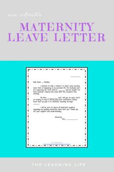 maternity leave letter   learning life teachers pay