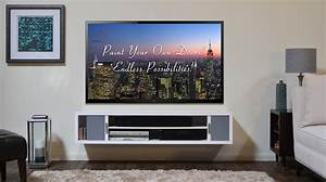 Furniture white wooden floating media shelves with three