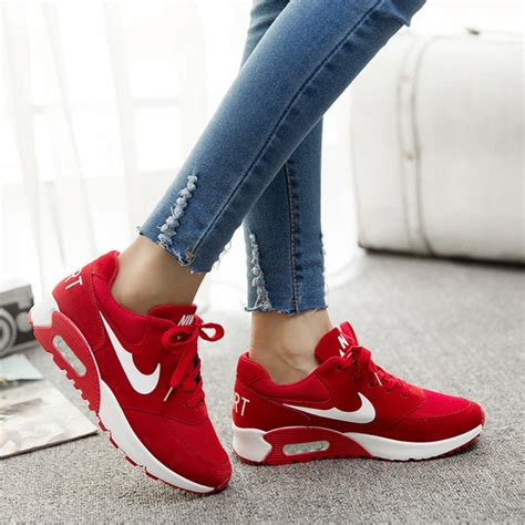women shoes  fashion red wedge sneakers  top air