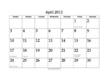 foto de Printable April 2011 Calendar