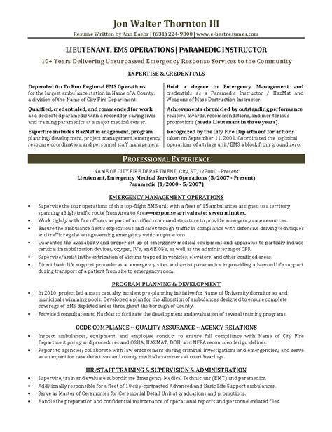 resume format for paramedical resume format for paramedical paramedic resume sle resume templates resume sl resume
