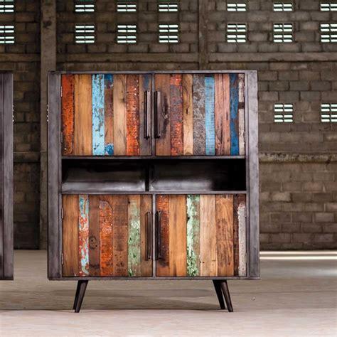 suspension meuble haut cuisine meuble de rangement teck et métal style industriel