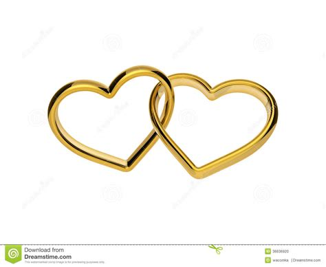 3d golden engagement hearts rings connected together stock