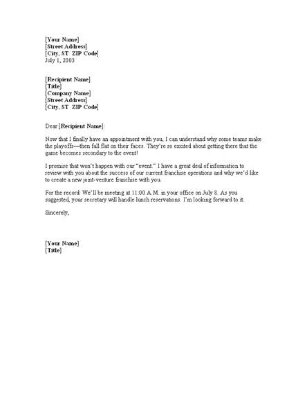 meeting confirmation letter template office