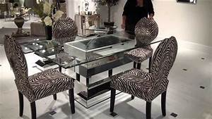 Paparazzo Mirrored Dining Table with Zebra Chairs by
