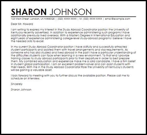 study  coordinator cover letter sample cover letter templates examples