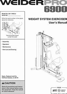 Weider 831149222 User Manual Pro 6900 Manuals And Guides