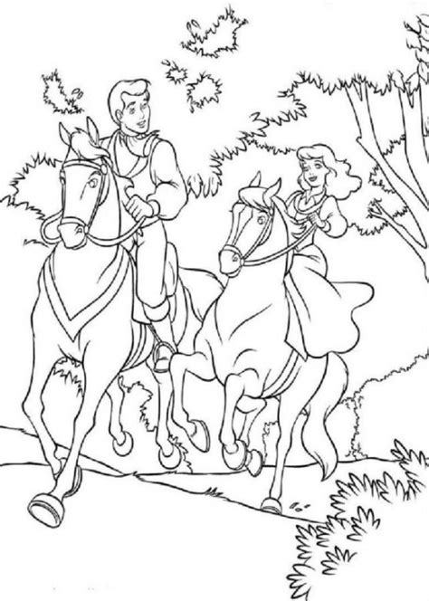 Kleurplaat Rapunzel Paard by Cinderella And Prince Charming Coloring Pages Coloring Home
