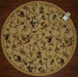 kitchen rug fruits vines pears beige green