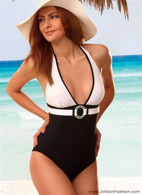 stylish black white  piece bathing suit  style