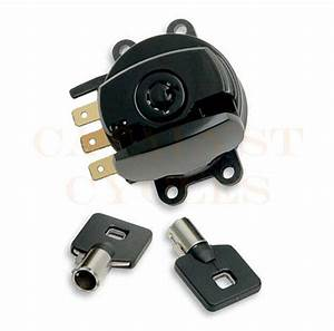 Black Ignition Switch With Round Key Harley Road King