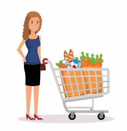 Shopping Clipart Woman Supermarket Grocery Lady Toy