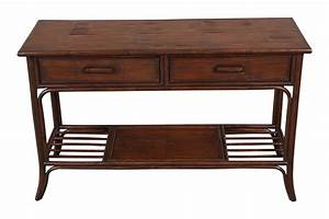 Quality, Rattan, Console, Table, With, Drawers, 70168