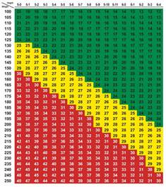 Weight BMI Chart Women