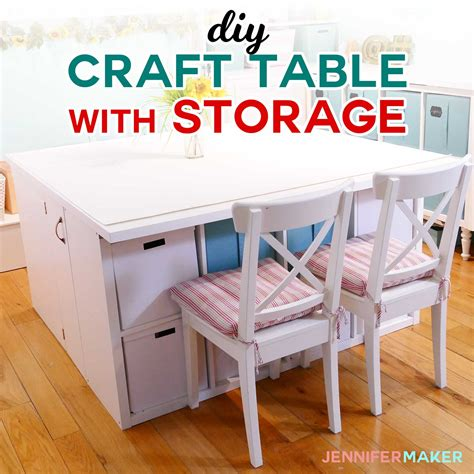 Diy Craft Table With Storage  My Ikea Hack!  Jennifer Maker