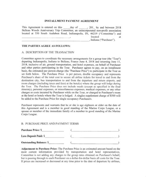 installment payment agreement template 15 payment agreement contract sles sle templates