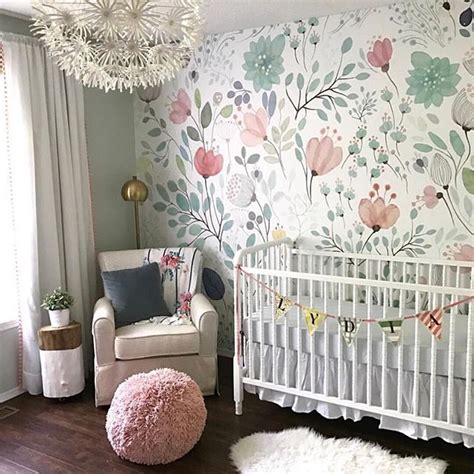 Kinderzimmer Tapezieren Ideen by Floral Wallpaper Accent Wall In The Nursery So Whimsical