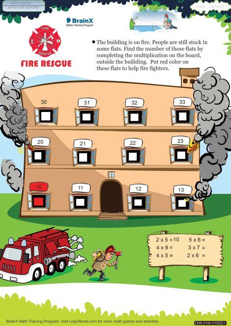 fire rescue math worksheet  grade   printable