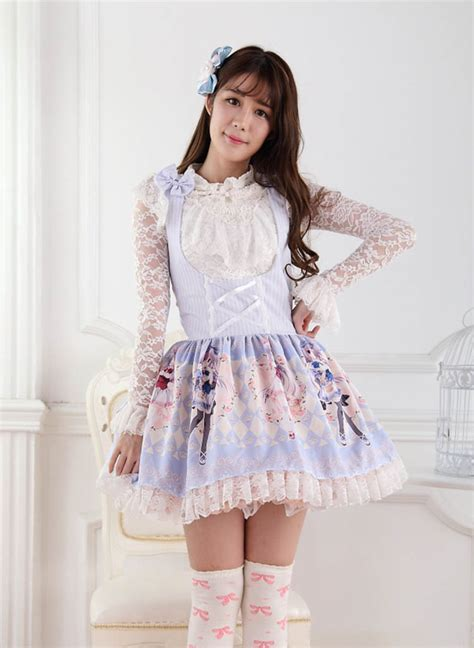 Cheap Sweet Lace Princess Strap Blue Rose Print Twins High Waist Sweet Lolita Dress JSK Sale At ...