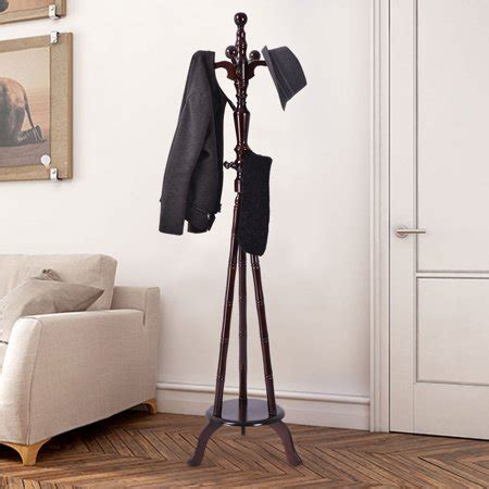 coat rack walmart costway 73 free standing solid wood coat hat purse