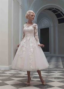 custom made sexy long sleeve tea length wedding dress plus With short long sleeve wedding dress