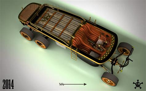 steampunk  wheel land yacht   car   future