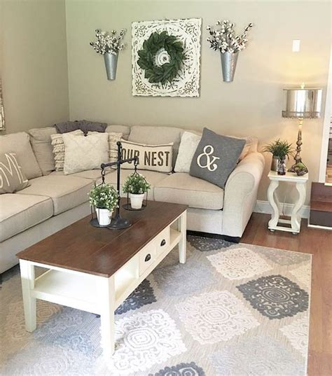 This white tufted couch is the perfect. 75 Best Farmhouse Wall Decor Ideas for Living Room (1) - Ideaboz