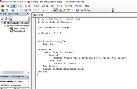 error handling in excel and vba getgeek net